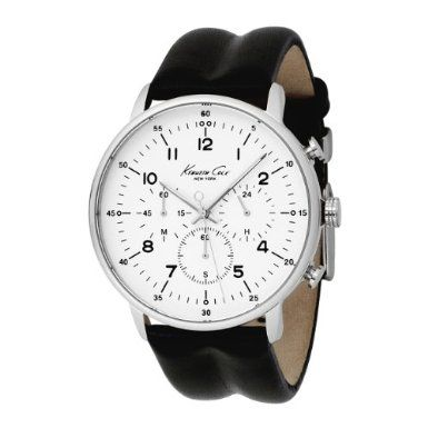 Kenneth Cole New York Mens KC1568 Iconic Chronograph Black Leather Watch. Quality Japanese-quartz movement. Brushed stainless steel case. Features a white background and printed black numerals at 1-12 o'clock.