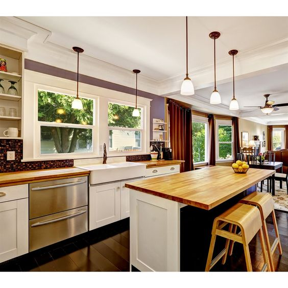 Bamboo islands and kitchen countertops on pinterest for Bamboo kitchen cabinets lowes