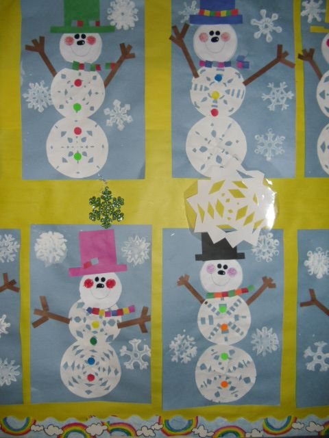 Poems and snowflake snowman art in second grade arts and crafts
