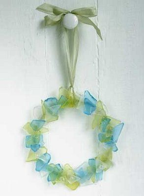 Or a sweet sea glass wreath. Interested? Then click on image and learn how it's made..., or purchase one from sea glass artist Sue Gray.
