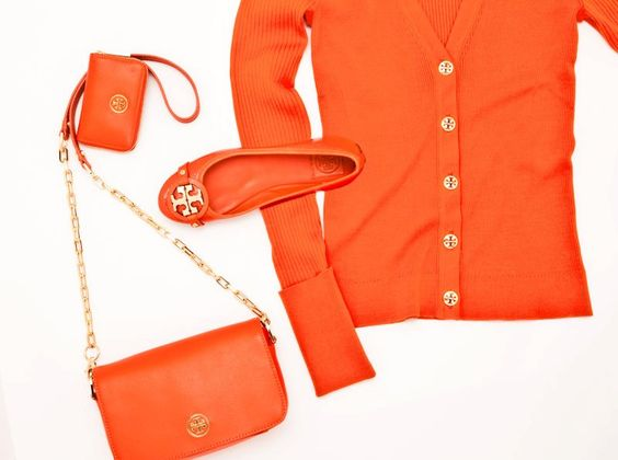 neon orange tory burch