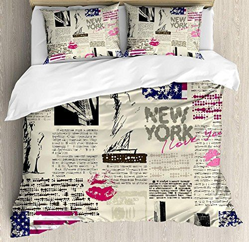 Chasoea United States Quilt Bedding Sets Newspaper New York With