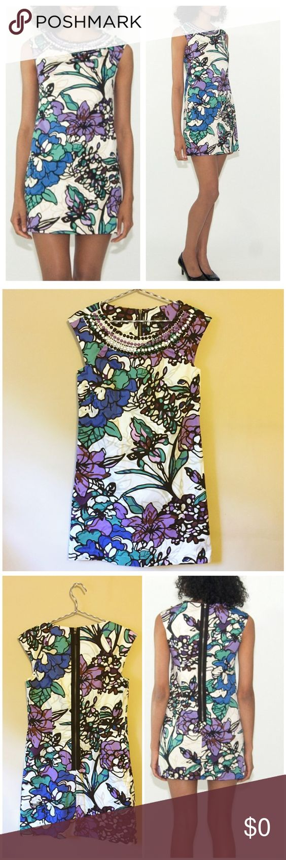 """Laundry Blue Snow Floral Beaded Cotton Shift Dress New Without Tags --- Laundry Blue Snow Floral Beaded Stretch Cotton Shift Dress --- size 4 --- by Shelli Segal --- fully lined --- Shell is 98% cotton 2% spandex --- bold  floral print on a white background ---  yoke is embellished with five rows of beading in the colors of black white and purple ---  expose back zipper --- 17.5"""" bust --- 33"""" length --- 16.5"""" waist --- 19"""" hips --- thank you for visiting my boutique, please feel free to ask…"""