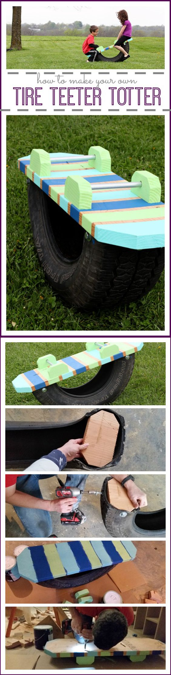 Tire Teeter Totter | DIY Play Areas for Backyard Projects by DIY Ready at http://diyready.com/easy-backyard-projects/: