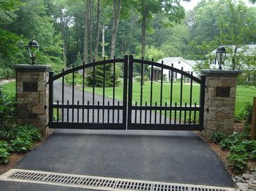 Front Gate Entrance Ideas With Stone Front Entry Piers