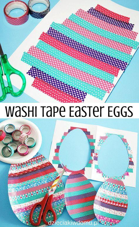 washi tape easter eggs / wielkanocne jaja wyklejane taśmą washi - praca plastyczna dla dzieci #eastercrafts