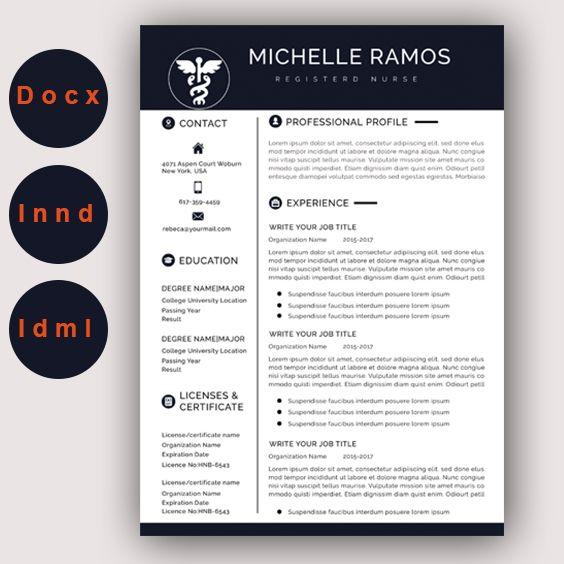 Nurse Resume Cv Template Medical Cover Letter Mac Pc Easy