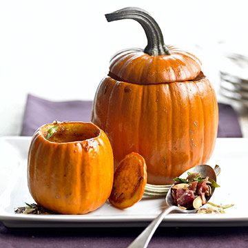 These Roasted Pumpkins with Bacon and Brown Sugar are flavored with fennel seeds and green onions.