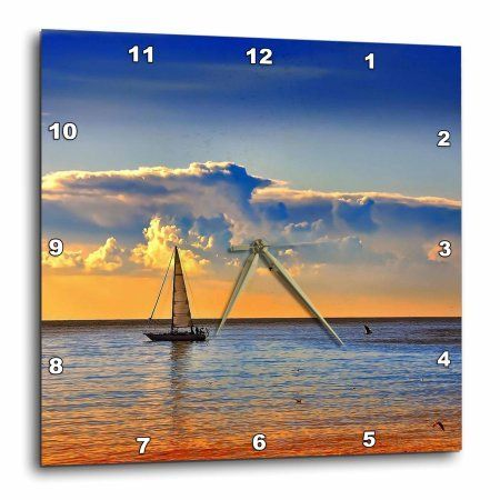 3dRose Image of Sailboat And Birds Against Orangey Blue Sunset, Wall Clock, 10 by 10-inch