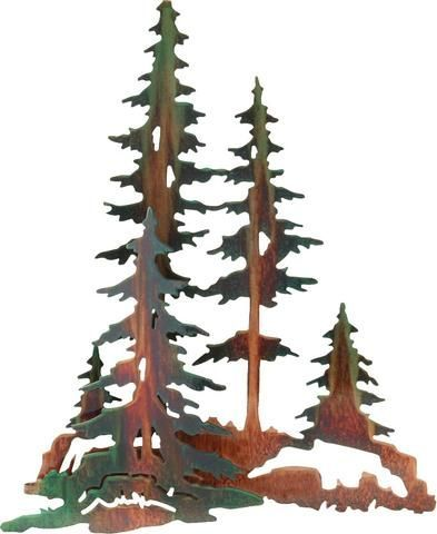 Pine Trees Forest 3d Metal Wall Art Metal Tree Wall Art Tree Wall Art Metal Tree
