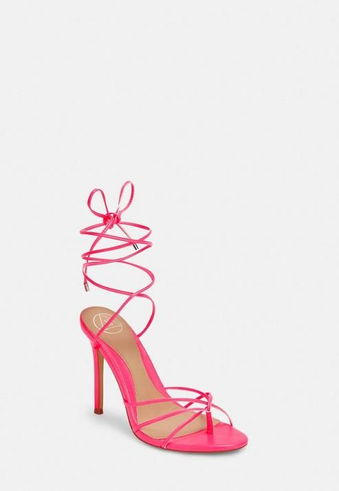 for whole family picked up new high Missguided - Neon Pink Strappy Toe Post Heeled Sandals | Neon pink ...