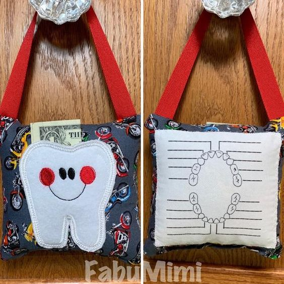 Tooth fairy pillow with tooth chart polka dot pattern READY TO SHIP! FabuMimi Original