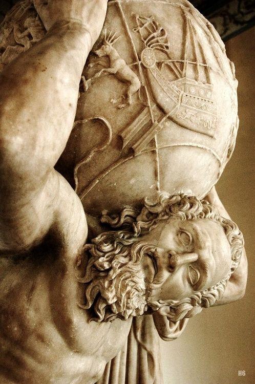 Detail : Atlas. 2nd.century A.D. Roman copy. marble. National Archaeological Museum. Naples.: