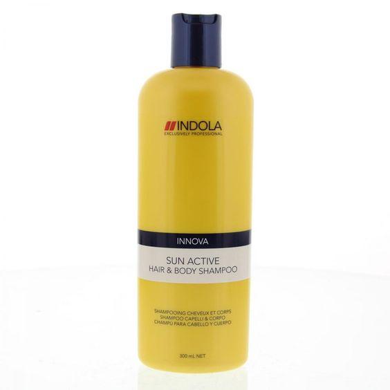 Indola Innova Sun Active Hair & Body Shampoo Na de Zon 300ml. Dankzij het Climate-Shield Complex met Palmmelk en Vitamine E ontspant, verfrist en helpt deze innovatieve reiniger te beschermen tegen UV schade, kroes en vrije radicalen. http://www.hbb24.nl/4045787172898-indola-innova-sun-active-shampoo-hair-body-300ml.html?gclid=CjwKEAjw56moBRD8_4-AgoOqhV4SJADWWVCckQ28CO7-x7wBIq-WNJ9skZLtu0Ozv9Gd1VN30isD8xoCv9_w_wcB