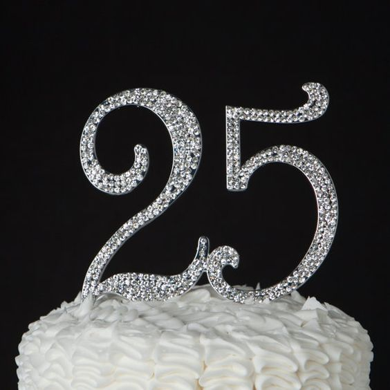 25 Cake Topper  25th Birthday or Anniversary by EllaCelebration