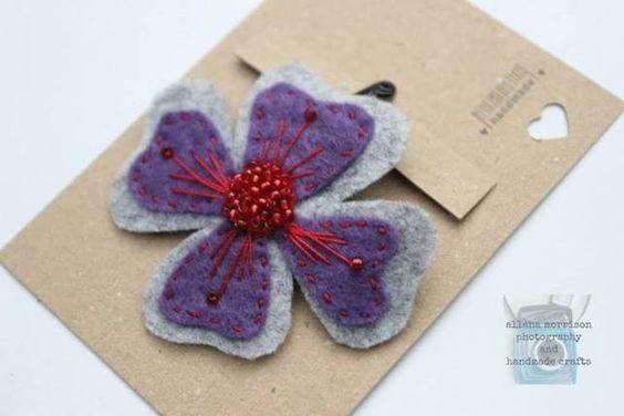 Purple and Red Felt Hair Flower  £2.30