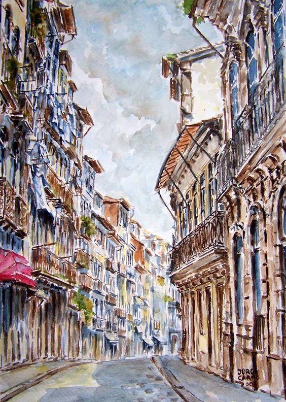 Rua de Belomonte, Porto  Pintura de Jorge do Carmo