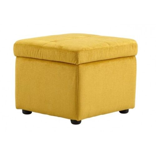Bright Yellow Fabric Square Storage Ottoman Footstool Square