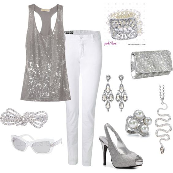 White and silver - cute happy hour or girls night outfit