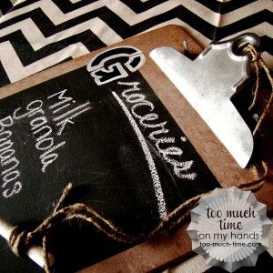 Clip Board Chalk Board Grocery List 1 copy via     too-much-time.com MUST MAKE ONE OF THESE! GREAT IDEA!
