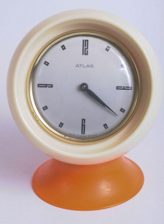 Retro Orange Atlas Desk Mantel Clock
