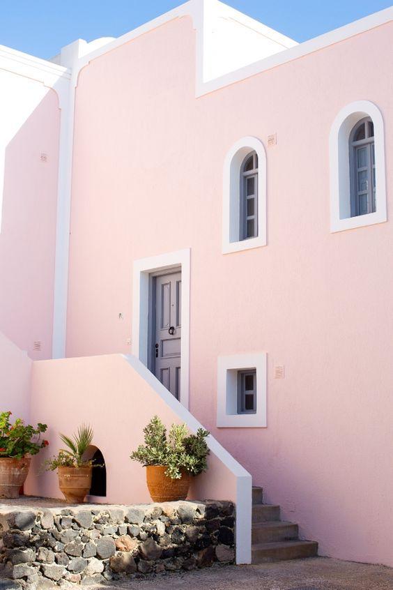 Colores Para Pintar Las Fachadas De Casas Colores Para Pintar Una Casa Por Fuera Colores Para Exteriores De Casas Santorini Pink Houses The Places Youll Go