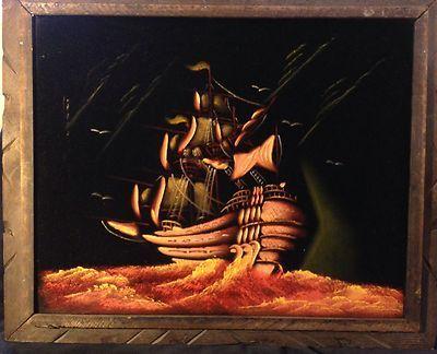 Vintage Clipper Ship Painting On Black Velvet Ebay