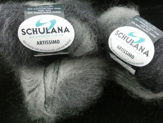 75 Gramm Schulana ARTISSIMO, Fb. 6, grau Farbverlauf, langhaarige Mohairmischung