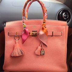 hermes crevette togo 35 cm birkin bag- salmon pink color