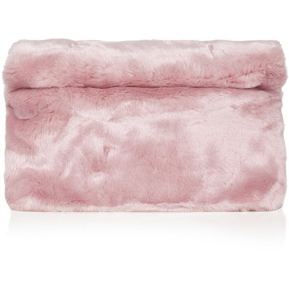 TOPSHOP Faux Fur Roll-Top Clutch (¥6,045) ❤ liked on Polyvore featuring bags, handbags, clutches, accessories, topshop, fur, pink, oversized handbag, faux fur handbags y topshop handbags