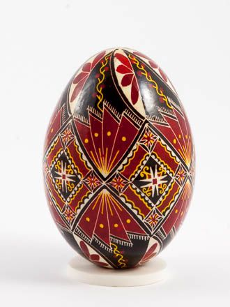 Easter eggs in batik technique batik red: