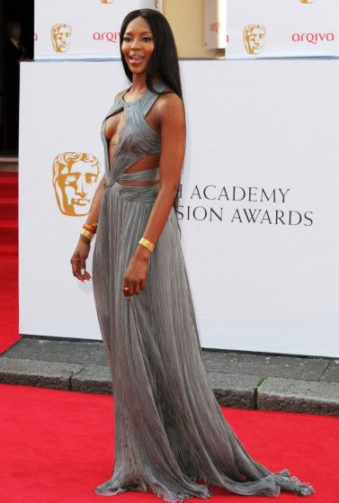 Naomi Campbell is a gray lady at the Arqiva British Academy Television Awards