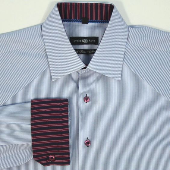 Stone Rose Mens L Black Rivet Collection Blue White Stripe Flip Cuff Shirt NICE #StoneRose #ButtonFront