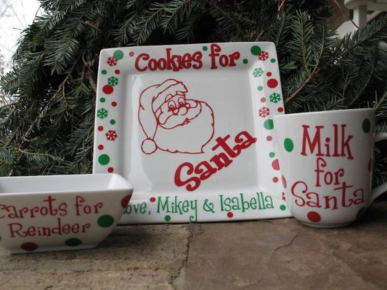 Personalized Cookies For Santa Plate And Mug Christmas
