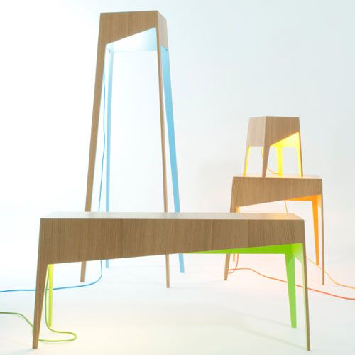 My Own Super Studio has designed The Fiss Family which consists of four wood tables, each a different size with a pop of color – blue, yellow, green, or orange.