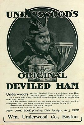 In 1822, English immigrant William Underwood founded the William Underwood Co. on Boston's Russia Wharf. He arrived with a new way of preserving food without refrigeration. Underwood's Deviled Ham is their best-known product, but the company began by jarring and later canning seafood. Underwood's canned foods fed settlers during the Manifest Destiny period, and also fed the Union Army during the Civil War. Its red devil logo, trademarked in 1870, is the oldest food trademark still in use…