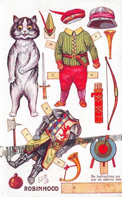 Louis Wain Signed Raphael Tuck Dressing Dolls Robin Hood Cutout Postcard