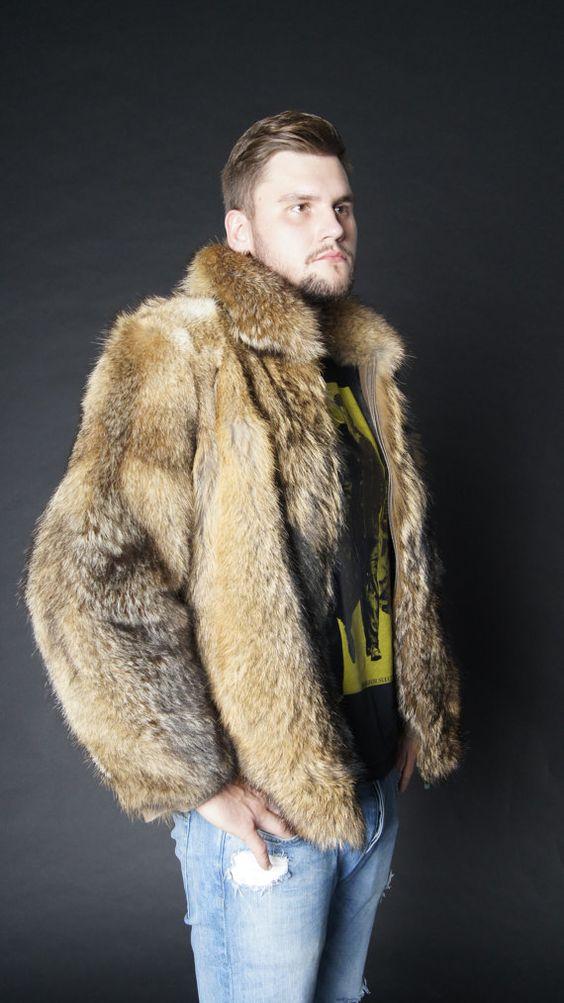 Brand new natural coyote fur jacket coat Mens jacket von EGFURS
