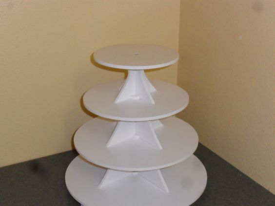 "4 Tier Round Cake / Cupcake Stand by 3.5"" between tiers FranksCrafts on Etsy, $37.95"