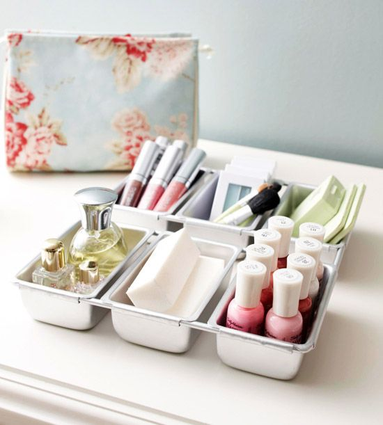 Eliminate vanity clutter by storing beauty essentials in mini loaf plans. Use each compartment to organize a single type of product such as makeup sponges, nail polish, perfume, and brushes. Loaf pans come in many sizes and their stainless-steel finish makes them sleek enough to sit out on a countertop.