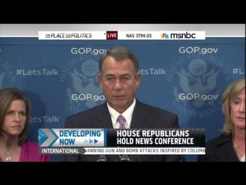 When John Boehner says the only thing Republicans want is for Senate Democrats to agree to negotiations, he's not telling the truth. What he wants is for Senate Democrats (and President Obama) to agree to negotiate while House Republicans have a metaphorical gun to the country's head. And the fact that he can't come up with an honest way of articulating that position is a pretty clear indicator that even he knows just how weak it really is.