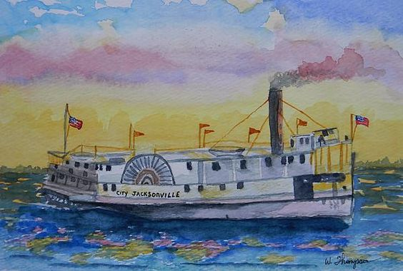 City Jacksonville- 6X9 Watercolor- Generations ago paddlewheel boats would make the journey from the mouth of the St. John's River at Jacksonville to Silver Springs, the source of the Silver River, popularizing the Ocklawaha River. The area became famous for fishing, drawing tourists from all over the world. Idea from a history newspaper.  Quality Prints Available.  200. Original