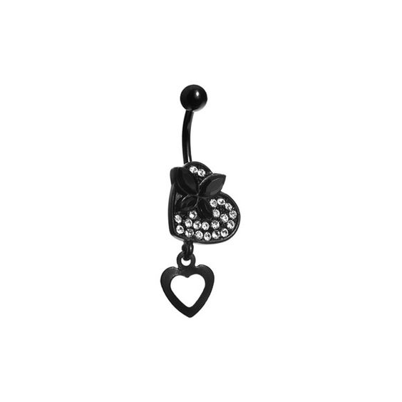 Crystalline Gem Black Butterfly Heart Belly Ring ❤ liked on Polyvore