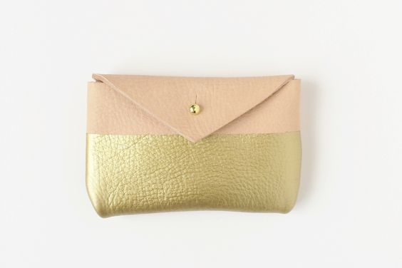 Handmade natural leather + gold card case under $25