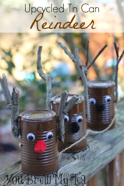 Upcycled tin can reindeer reindeer front porches and for Decorating tins for christmas