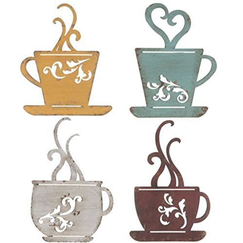 Collection Metal Coffee Cup Wall Kitchen Restaurant Coffee Shop Decor Set Of 4 Coffee Wall Decor Coffee Shop Decor Coffee Decor Kitchen