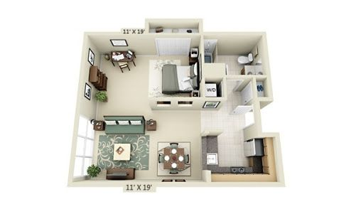 studio apartment layout - Google Search