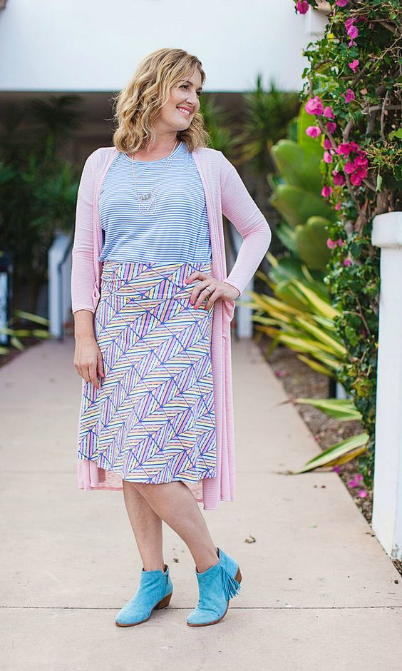 LuLaRoe Azure Skirt | Geometric Print | Pastel Colors | When it comes to our Azure skirt, looks are deceiving in the best way. This knee-length, A-line skirt looks dressy and polished, but it's knit fabric and flattering fold-over waist makes it feel like your favorite pair of yoga pants. Win win. | Shop with me! https://www.facebook.com/LuLaRoeDarylAnnNeu/