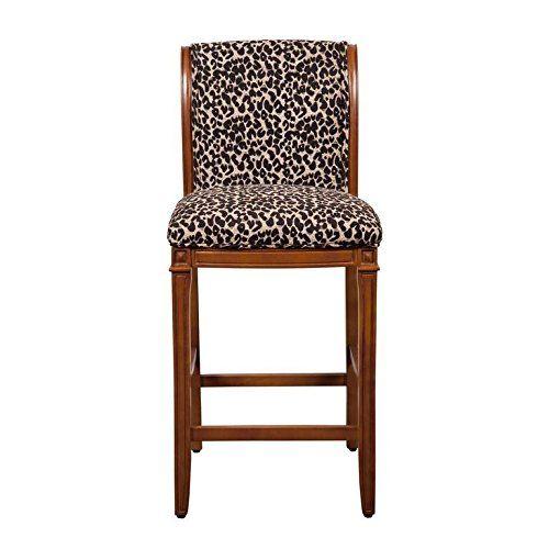 Homepop Gonac Upholstered Barstool Leopard Animal Print Bar