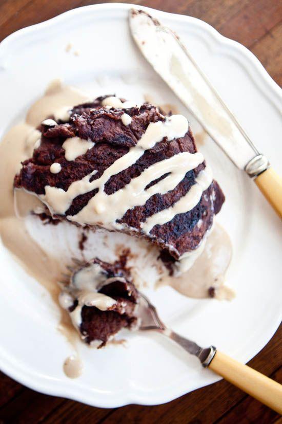 GF Chocolate Pancakes with Irish Cream Syrup | ourfourforks.com